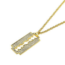 "Men's Hip Hop Gold Plated Crystal Razor Blade Pendant 28"" Chain Necklace Gifts"