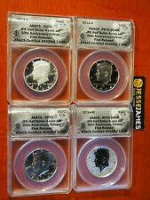 2014 W REVERSE PROOF SILVER KENNEDY 4 COIN ANACS PR70 SP70 FR 50TH SET S D P