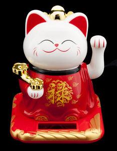 Katze Japanische 9.5 CM Kleid Rot Maneki Neko Pfote Animiert Solar- 348