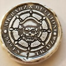 1 oz .999 Silver hand poured skull art bar pirate treasure captains helm New