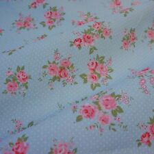Pale Blue Canvas Fabric with White Polka Dot & Pink Roses (Per Metre)