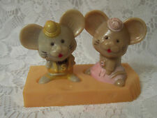 Vintage Plastic Mice on Cheese Salt and Pepper Shakers - Hong Kong