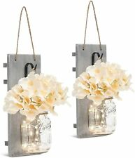 Rustic Wall Sconces , Wrought Iron Hooks,  LED Strip Lights Design  (Set of 2)