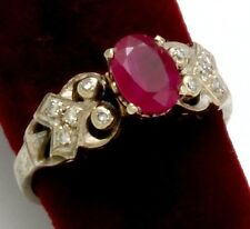 High-Quality 1.4 Ct. Ruby and Diamond Engagement 18K White Gold Ring Size 8.5