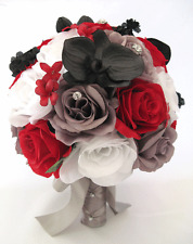 Wedding Bouquet 17 piece package Bridal Silk Flowers RED BLACK WHITE SILVER Gray