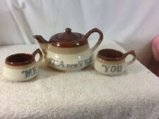 Vintage Ceramic set of 3 Tea For Two 3 Color Tea Pot with Matching Me & You Mugs