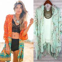 Women Vintage Floral Loose Shawl Kimono Cardigan Boho Chiffon Tops Jacket Blouse