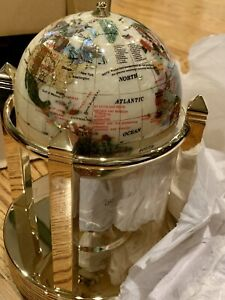 NIB- NEW Gemstone World Globe Pearl & Gemstone Gold-plate, Rotates, Clock, Therm
