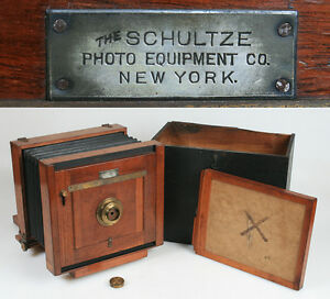 TAIL BOARD SCHULTZE 1890 6 1/2 X 8 1/2 W/FILM HOLDER,LENS CAP   CASE, ULTRA RARE
