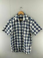 Gant Long Island Oxford Mens Blue Check Short Sleeve Regular Fit Shirt Size M