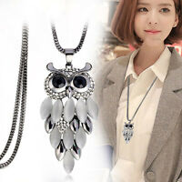 Vintage Animal Owl Pendant Chain Charm Crystal Jewelry Sweater Long Necklace Hot