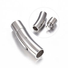 10sets 304 Stainless Steel Bayonet Clasps Barrel Curved Column Clasps 9x30mm