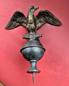 Vintage Brass Eagle Flag Topper Finial