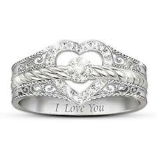 Women Silver Ring Heart Shape White Sapphire Gift for Lover Wedding Ring Size 7