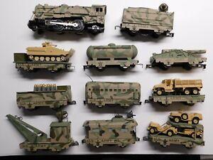 O Scale - MARX - Vintage Custom U.S. Army Steam Locomotive & (9) Train Cars Set