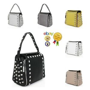 New Women's Stylish Studded Top Handle Hand Bag/Shoulder Bag With Chain Strap