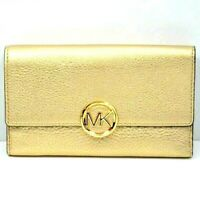 Michael Kors Lillie Pale Gold Carryall Large Trifold Pebble Leather Wallet $148