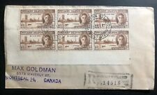 1947 Pitcairn Island Souvenir Registered Cover Victory Stamp To Montreal Canada
