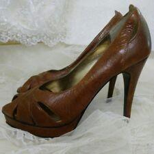 Wild Pair Women's Vintage Brown Leather PeepToe Heels Size 6