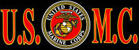 USMC United States Marine Corps Black, Gold & Red Vinyl Bumper Sticker