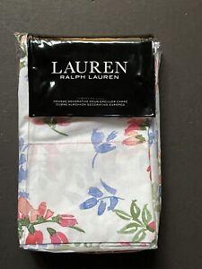NEW *PAIR Standard RALPH LAUREN *MAGGIE Pillowcases FLOWERS Pink Blue NWT!