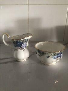 Royal Albert ~ Moonlight Rose ~ Sugar Bowl & Creamer  ~ Bone China England c1987