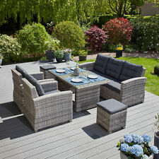 Garden Lounge Grey Synthetic Rattan Aluminium Table Group Seating Area Poly