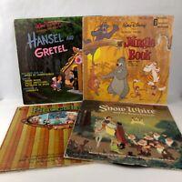 Lot of 4 Kids Disney Records Snow White Hansel and Gretel Jungle Book Pinocchio