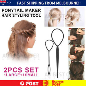 Hair Styling Tool 2PCS Set Topsy Tail Ponytail Maker Braid Ladies Girl Clip Loop
