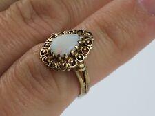 Vintage Teardrop Brazilian Opal 10K Gold Filigree Ring size 4 3/4, 2.5g