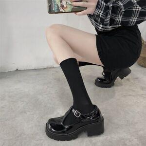 New Cute Ladies High Waterproof Platform Thick Heel Round Toe Buckle High Heels