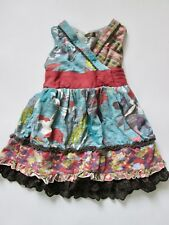 Matilda Jane 100% cotton patchwork print dress eyelet lace trim tieback 12 mo