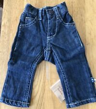 Kickee Soft, Stretchy Girls Bootcut Blue Jeans, 3-6M, Kicky Pants old labeling