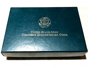 EMPTY CHERRY WOOD BOX FOR COLUMBUS QUINCENTENARY COINS W/ COA