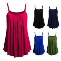 KQ_ Women Summer Spaghetti Strap Ruffles Loose Beach Camisole Slip Dress Charm