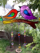 Small Stained Glass Purple & Blue Chakra Rainbow Birds Beaded Sun Catcher Mobile