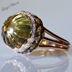 "Bellarri Diamond Champagne Quartz Smoky Quartz 18K Pink Gold ""Tango II"" Ring 9"