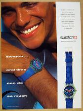 1992 Swatch FRISCHE FISCHE Watch blue fish dial photo vintage print Ad