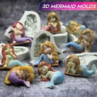 3D Mermaid Silicone Mold Fondant Mold Chocolate Mould for Decorating Cakes Tool
