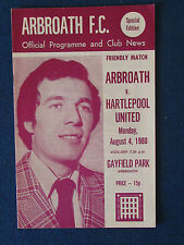 Arbroath v Hartlepool United - Friendly Programme - 4/8/80
