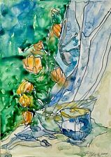 ORIGINAL Watercolor painting on paper artwork SIGNED still life