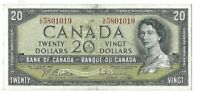 Bank of Canada 1954 20 Twenty U/E Prefix Beattie Rasminsky Twenty Dollar