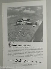 1940 Lockheed Airplane advertisement, LOCKHEED 12 Electra Jr. aerial photo