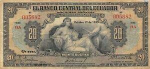 Ecuador  20  Sucres  10.17.1939  P 93a  Series HA Circulated Banknote MIT