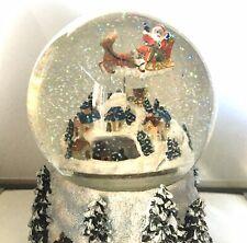 Christmas Santa Snow Globe -Music Box With Moving Santa On Sleigh & Moving Train