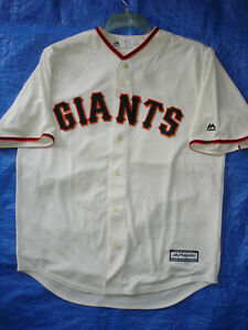 NEW MENS LARGE MLB SEWN MAJESTIC COOL BASE S F. GIANTS CREAM POSEY JERSEY-NWT