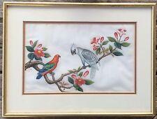 Pintura China la médula de Papel de Arroz Aves Exóticas Circa 1850 Par