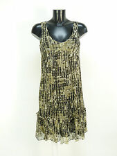 Zara abito seta taglia XS/marrone con motivo & 100% SETA (m 4642 F)