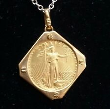 Genuine US $ 5 1/10 Oz. 22k Gold Eagle Coin In 18k Solid Gold Bezel Pendant