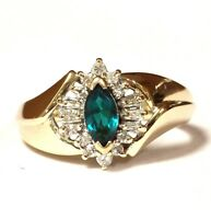 14k yellow gold .17ct VS G diamond created emerald cluster ring 3.9g ladies